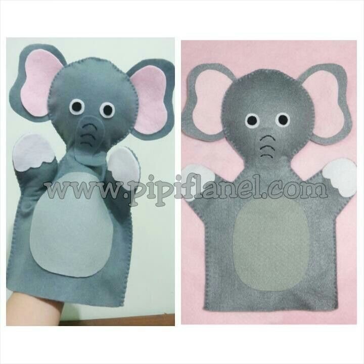 Elephant hand puppet made by Pipi Flanel.. Wanna see our feltdolls collection? Please visit our website at www.pipiflanel.com thank you :)
