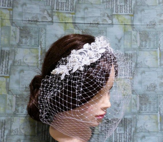 White Birdcage Veil Lace Crystals Pearls Vintage Inspired Fascinator Wedding Bridal Hairpiece READY TO SHIP