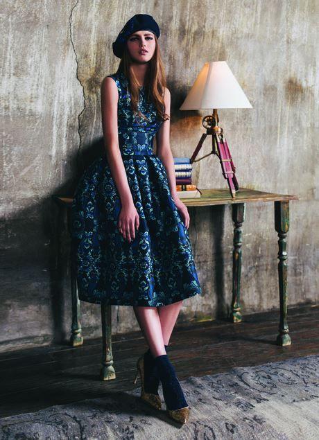 Kira Plastinina FW15/16 gold label mermaid print crop top and party skirt