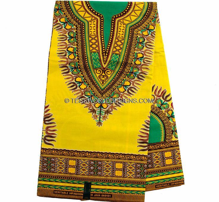 Yellow Dashiki Fabric/ African Fabric/Ankara print/ African print/ Dashiki Fabric/African skirt/ Sold per 6 yds DS39 by TessWorldDesigns on Etsy