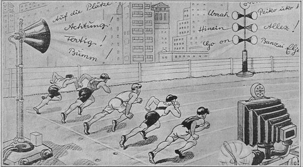 A cartoon from the 1936 Berlin Olympics imagines the year 2000 when spectators will have been replaced by television and radio, their cheers coming from loudspeakers.