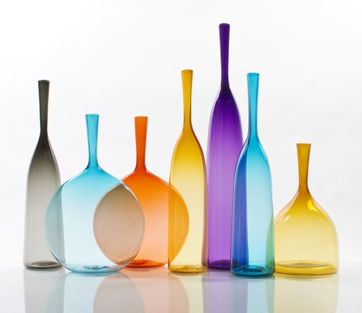 A third sampling of Cariati's gorgeous glass, these a part of the transparent group of Angelic Bottles.  These shapes are simple and perfect.