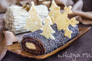 Шоколадно-карамельное рождественское полено