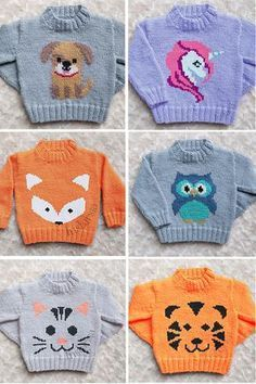 Knitting Pattern For Baby And Child Sweaters With Animals Baby