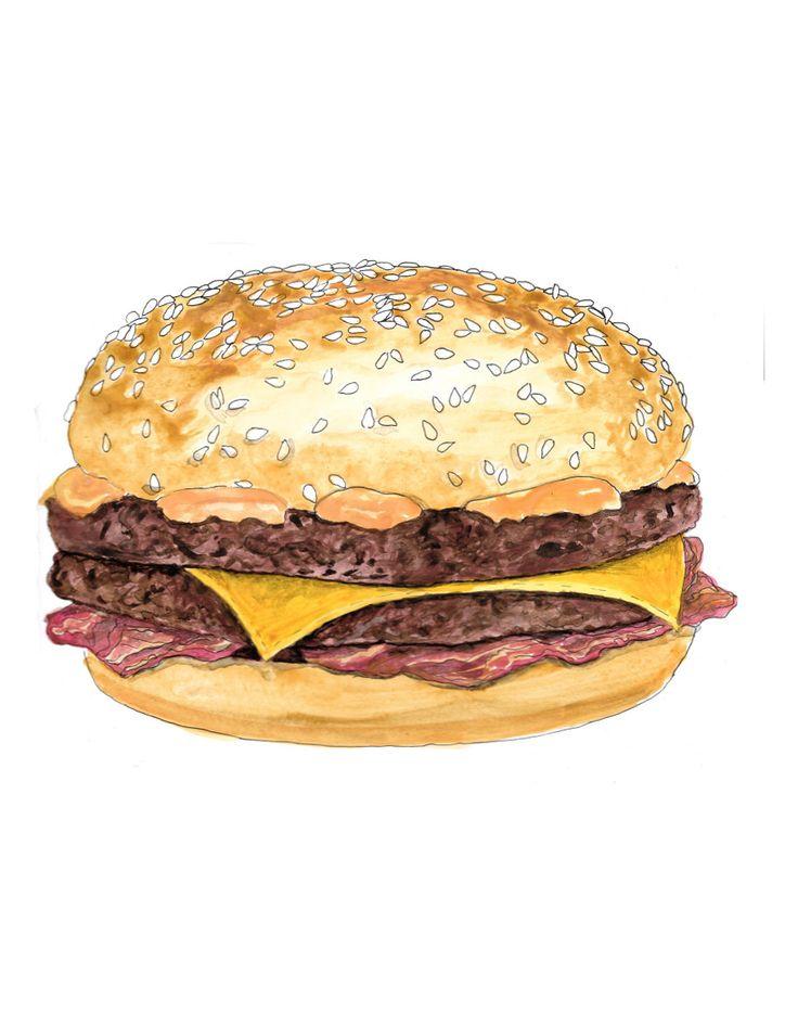 Crispy McBacon burger hand drawn watercolor illustration by RobertaTomei on Etsy