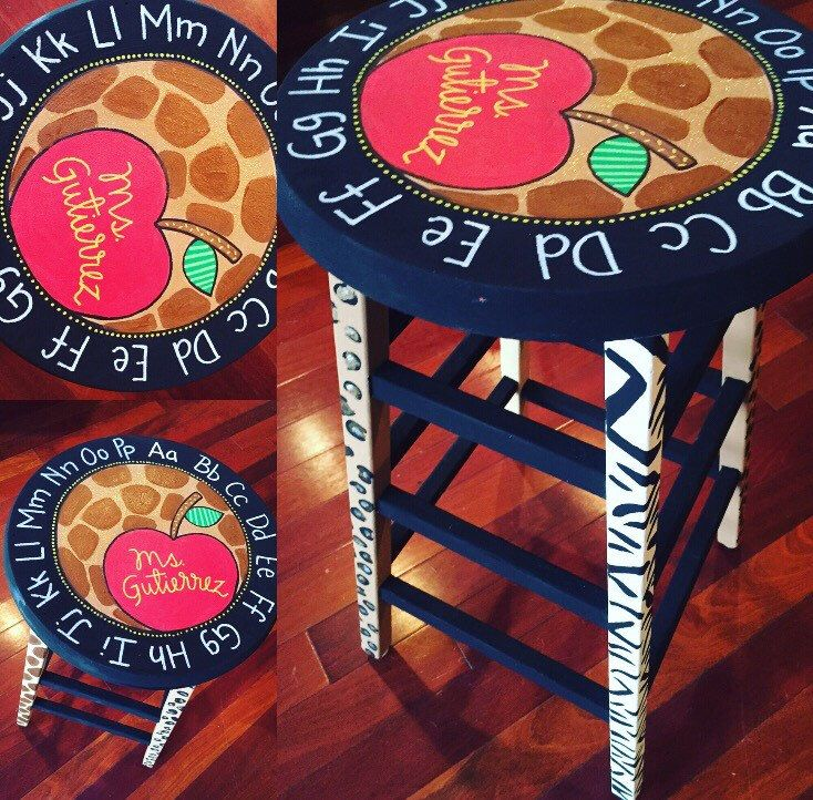 Classroom teacher decor, Custom Painted Stools, Painted stools by theartroomandcrafts on Etsy https://www.etsy.com/listing/247904794/classroom-teacher-decor-custom-painted