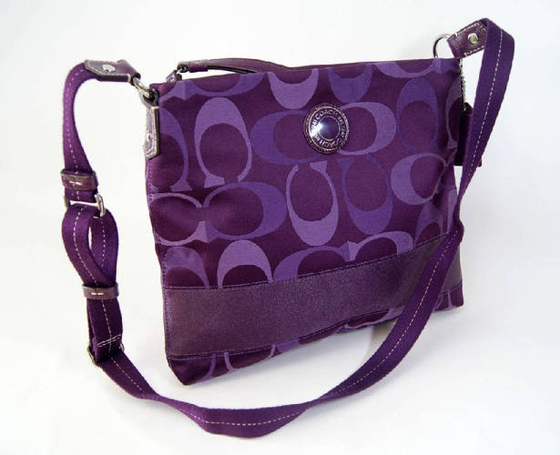 Coach F20061 Purple/Silver Bag is going up for auction at  5pm Sun, May 26 with a starting bid of $1.