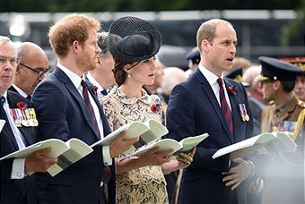 Prince Harry, Catherine, Duchess of Cambridge and Prince William, Duke of Cambridge during the Commemoration of the Centenary of the Battle of the Somme at the Commonwealth War Graves Commission Thiepval Memorial on July 1, 2016 in Thiepval, France. The event is part of the Commemoration of the Centenary of the Battle of the Somme at the Commonwealth War Graves Commission Thiepval Memorial in Thiepval, France, where 70,000 British and Commonwealth soldiers with no known grave are…