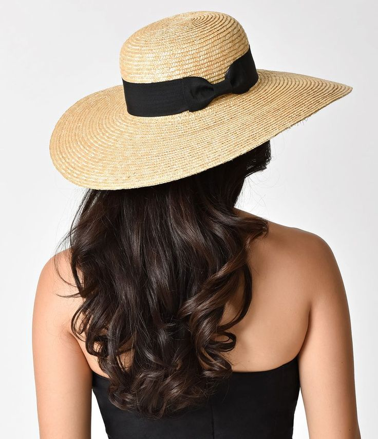 Vintage Style Tan Straw & Black Ribbon Sun Hat