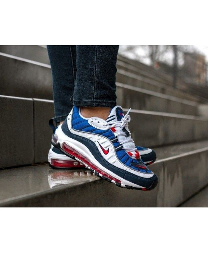 788137d569f Nike Air Max 98 Trainers In Red Blue White