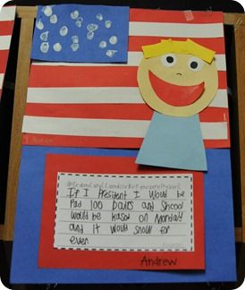 cute idea - surprisingly my first graders were really enthusiastic about the presidential election... (but as cute as this is, the flag needs the correct number of stripes and stars.  Let's teach accurately people, come on)