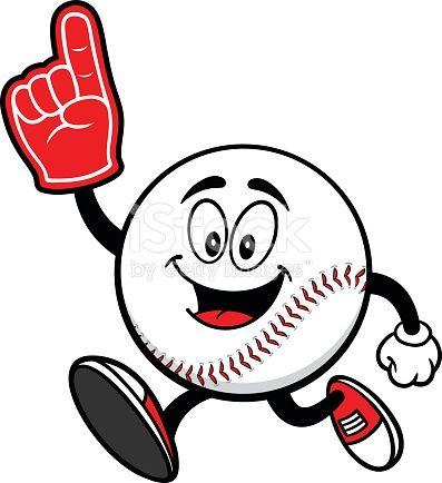 Baseball Mascot Running with Foam Finger