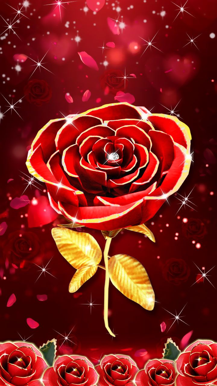Gold Red Rose Wallpaper Special Vip Design For Your Mobile Luxury Style 3d Rose Wallpaper Gold Red Bling Wallpaper Rose Wallpaper 3d Wallpaper For Mobile