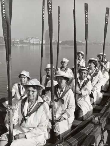 Oakland Women's Rowing Club comprised of 10 grandmothers who meet once a week at the Lake Merritt boathouse for practice, 1948 (Charles E. Steinheimer)