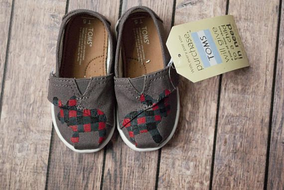 Buffalo Plaid Moose Hand Painted Tiny Toms