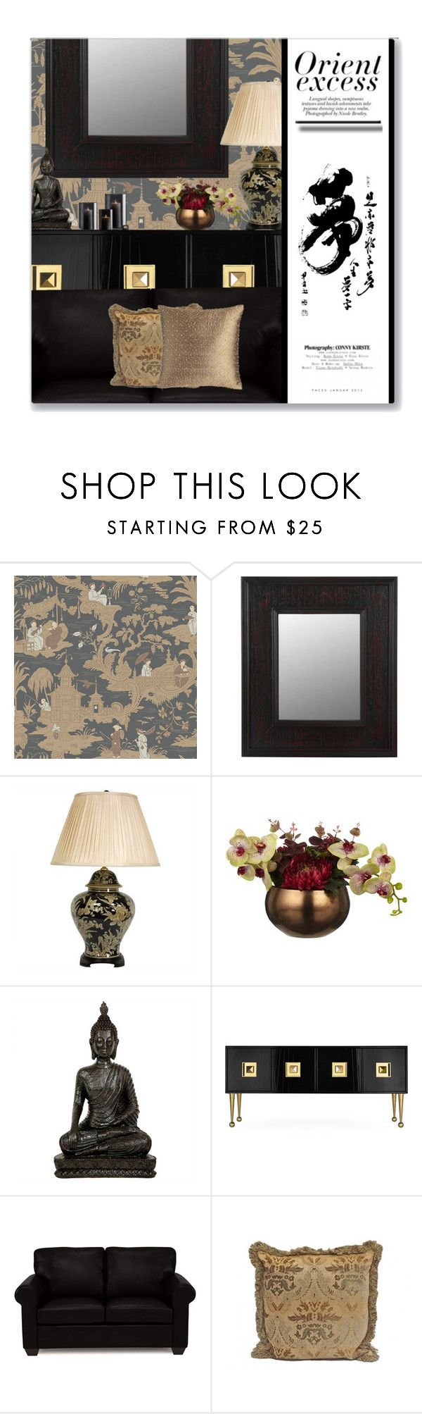 """Orient Excess"" by leanne-mcclean ❤ liked on Polyvore featuring interior, interiors, interior design, home, home decor, interior decorating, Cole & Son, Jonathan Adler, Austin Horn and Nicole"