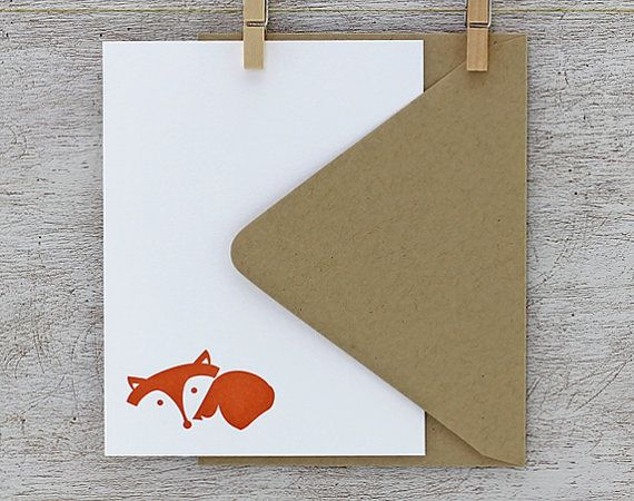 Fox Note Card Set  Fox Letterpress Stationery Set  von sweetharvey