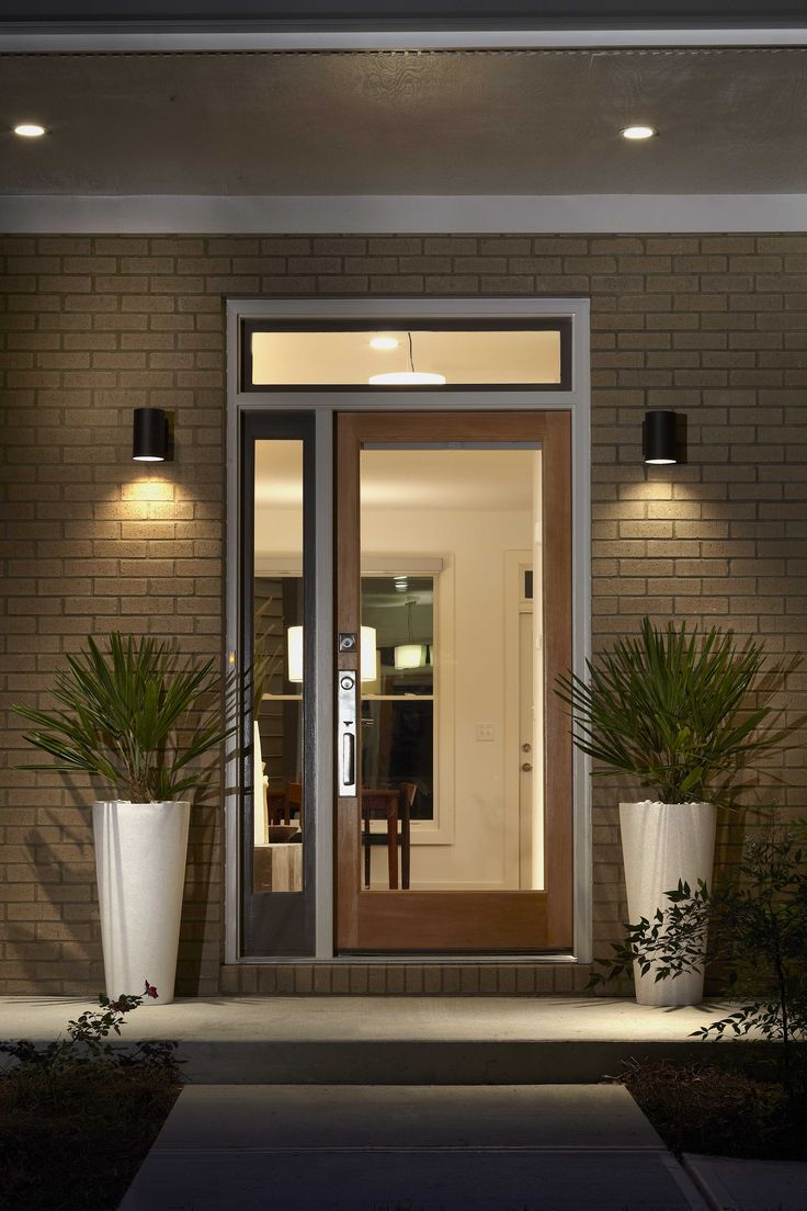 Glass front door with side top panel home renovation for Modern front door decor