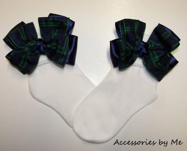 Tartan Plaid Hair Bow Scottish Plaid Navy Green Satin Girls Black Watch Ribbon  #AccessoriesbyMe #CuffSocks