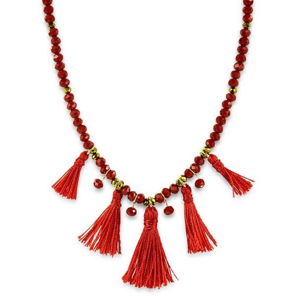 Tassel Choker ClaudiaG ❤ liked on Polyvore featuring jewelry, necklaces, lobster clasp necklace, tassel necklace, red choker necklace, adjustable necklace and red choker