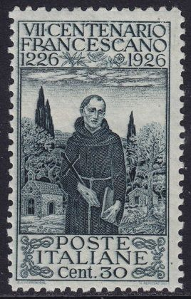 Italy Stamp 1926 - SAN FRANCESCO ASSISI  C. 30