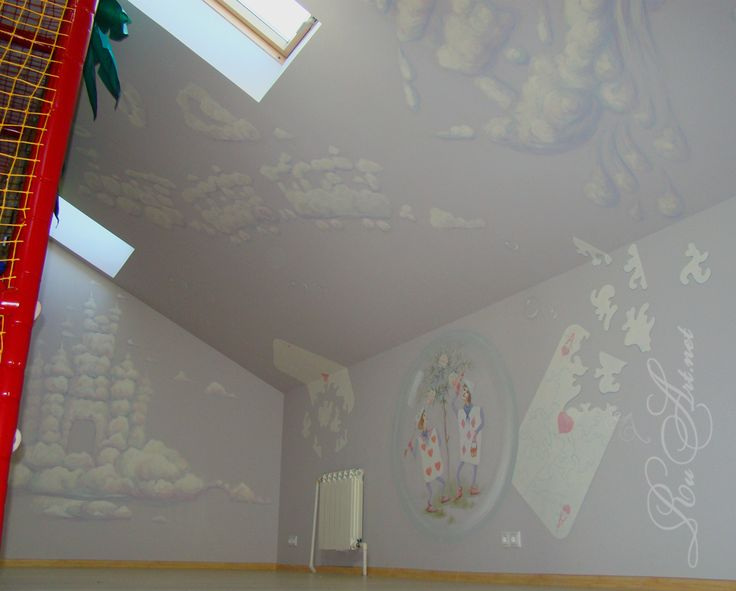 "Children's room at the cafe.Wall painting ""Alice in Wonderland"".(fragment.)."