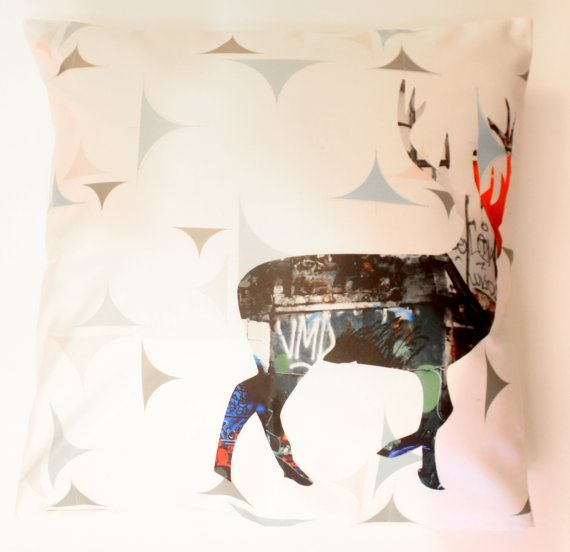 Reindeer Decorative Throw Pillow Cover by CandyMountainPhotos, €22.00