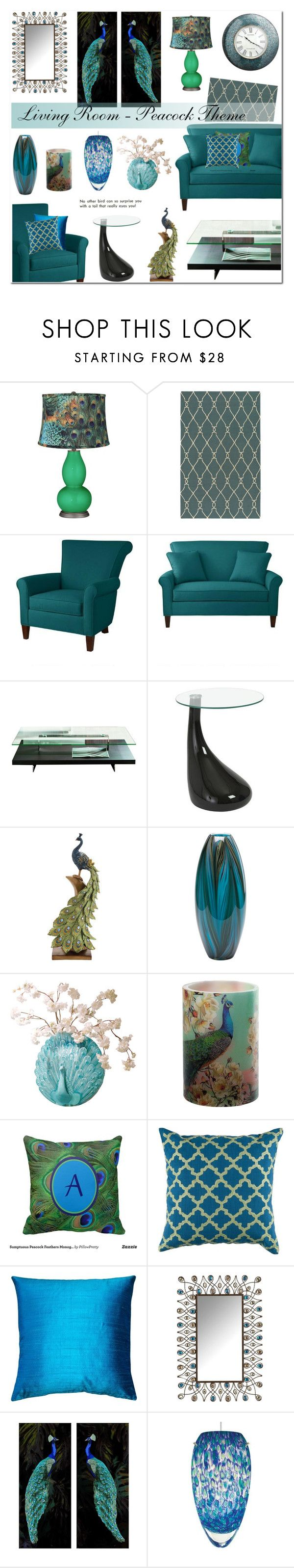 """Living Room - Peacock Theme"" by anyasdesigns ❤ liked on Polyvore featuring interior, interiors, interior design, home, home decor, interior decorating, Surya, Prospect + Vine, Pacini & Cappellini and Cyan Design"