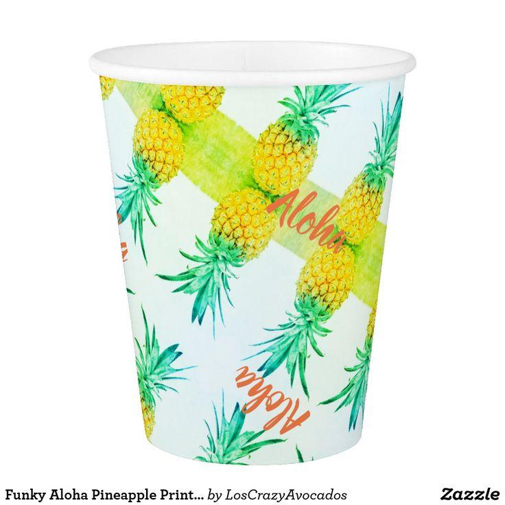 Funky Aloha Pineapple Print Paper Cup