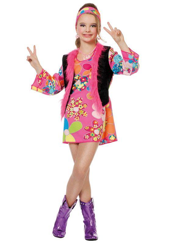 Hippie jurk met hoofdband voor meiden. Een vrolijk hippie ...