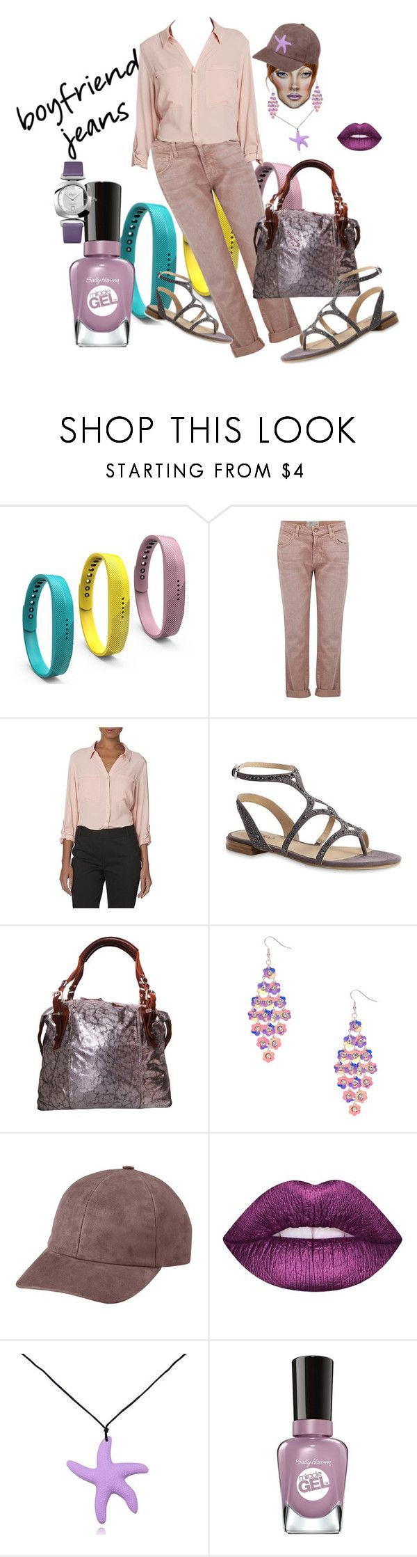 """""""Boyfriend Jeans and Sandals.."""" by marlenajo-b ❤ liked on Polyvore featuring Fitbit, Current/Elliott, Pauric Sweeney, Vianel, Lime Crime, Sally Hansen, Glashütte and boyfriendjeans"""