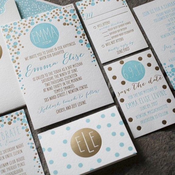 Dots letterpress + foil stamped Bat Mitzvah Invitation suite from Smock