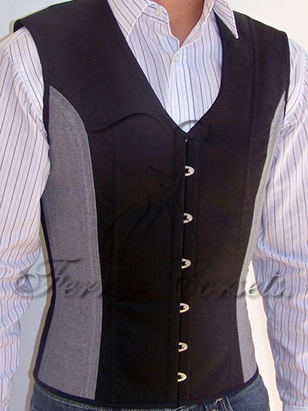 Ferrer Corsets two-tone waistcoat corset available in Jacquard, Gabardine and wool (R$ 750) | Corsets for Men on Lucy's Corsetry