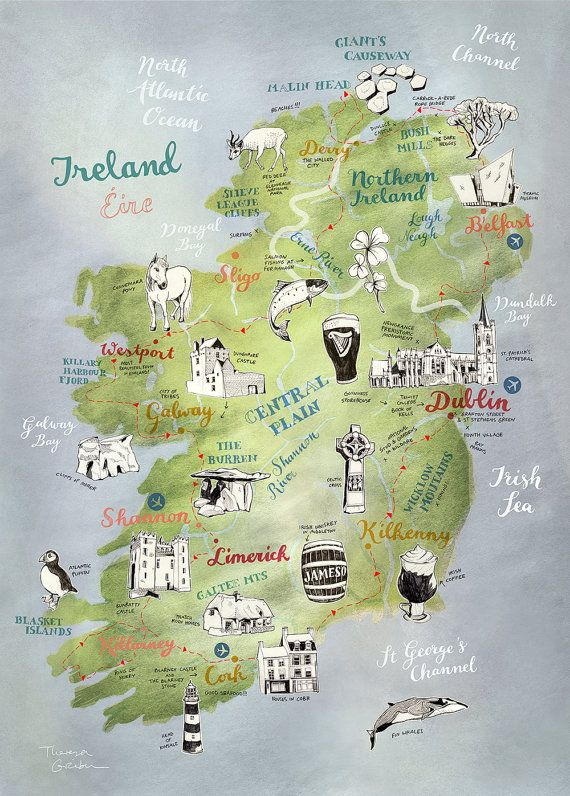 Ireland Map, Map of Ireland by Theresa Grieben, illustrated map art print of Ireland, art poster, road trip map Irland Landkarte. This is a high quality print of my hand drawn map of Ireland (and Northern Ireland). I illustrated the towns as well as the stunning nature and animal wildlife of this beautiful country in Western Europe. Its the perfect present for any Irish native and its an awesome farewell gift for someone travelling to Ireland or coming back.