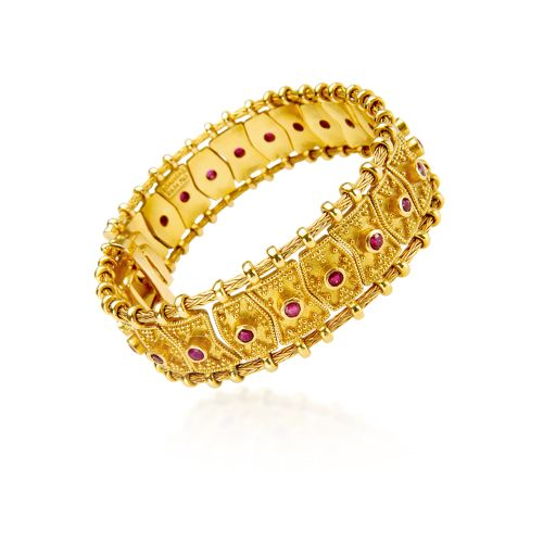 Byzance bracelet in 18KT yellow gold with rubies.