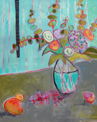 Annie Obrien-Gonzales: mixed media on canvas