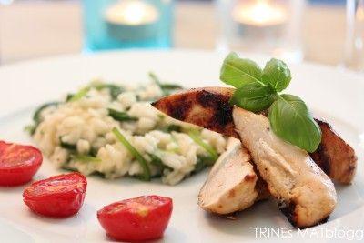 Sitrusmarinert kylling med spinatrisotto og ovnsbakte tomater - TRINEs MATBLOGG