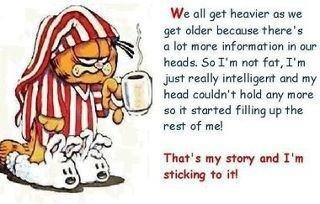 We all get heavier...: Laughing, Stories, Fun Stuff, Funny Stuff, Funny Quotes, Humor, Garfield, Get Older, Funnystuff