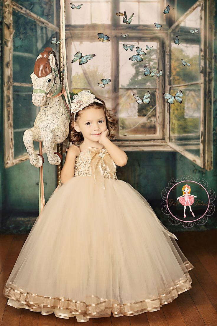 """""""Jacqueline"""" dress in taupe and ivory with organza ribbon trim"""