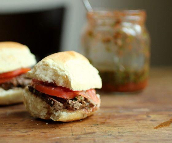 Vintage Kitchen Notes: Marinated Steak and Chimichurri Sliders #SundaySupper