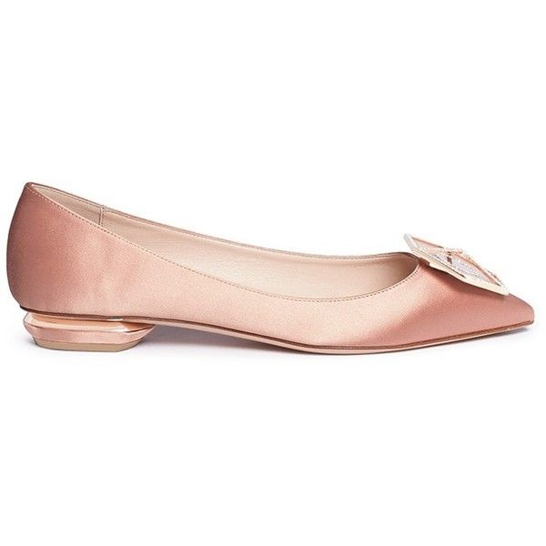 Nicholas Kirkwood 'Eden' strass hexagon plate satin skimmer flats (€630) ❤ liked on Polyvore featuring shoes, flats, neutral, ballet pumps, ballet shoes, ballet flat shoes, beige flat shoes and satin ballet shoes