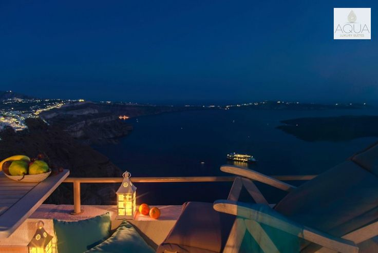 Enjoy another majestic night in Santorini, watching the lights shine like gems on the rocks and the sea…An unforgettable experience! More at aquasuites.gr