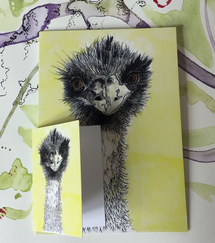 Emu Card and Gift Tag set Yellow background Ink and watercolour drawing set of 2 by PaperJamink on Etsy