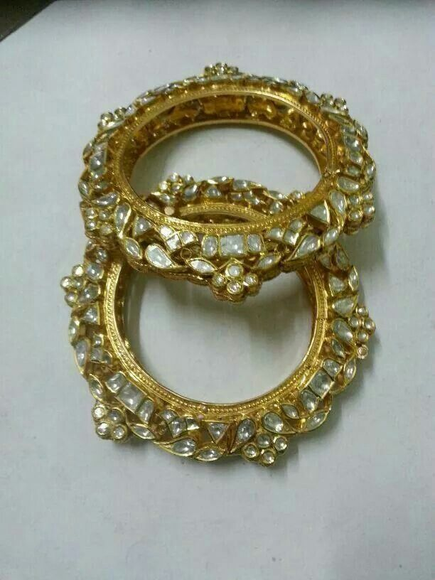 Gold and kundan bangles
