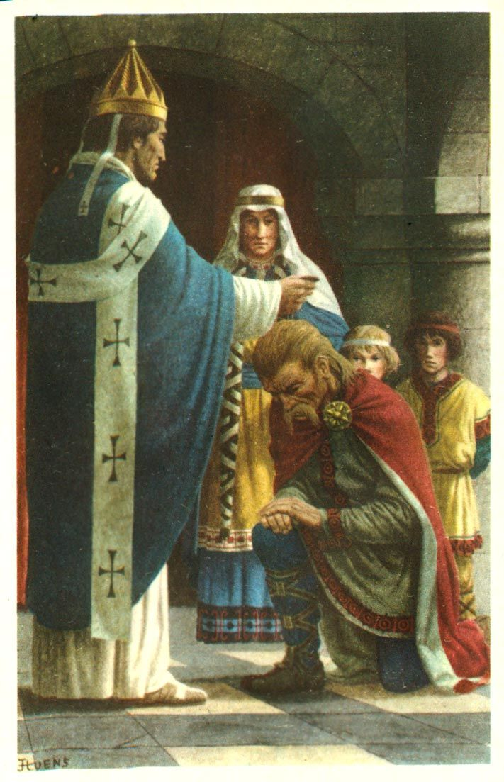 Pepin the Short, the son of Charles Martel, dislodged the last Merovingian king and called himself King of the Franks. He was consecrated by Pope Stephen II and was the founder of the dynasty of the Carolingians.