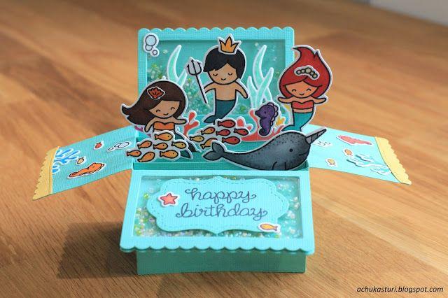 My Paper Craft: Underwater birthday box card pop up