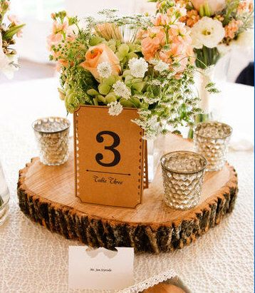 Rustic Wood Centerpiece, Wooden Wedding Centerpiece, Rustic Wedding Centerpiece, Wood Charger, Wood Slab, Cake Stand, Wood Slab Centerpiece by MMDreamDecor on Etsy https://www.etsy.com/listing/235437756/rustic-wood-centerpiece-wooden-wedding