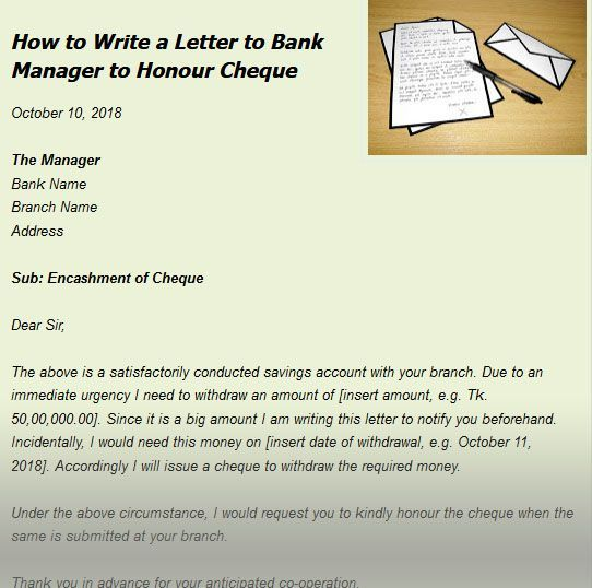How To Write A Letter To Bank Manager To Honour Cheque Card