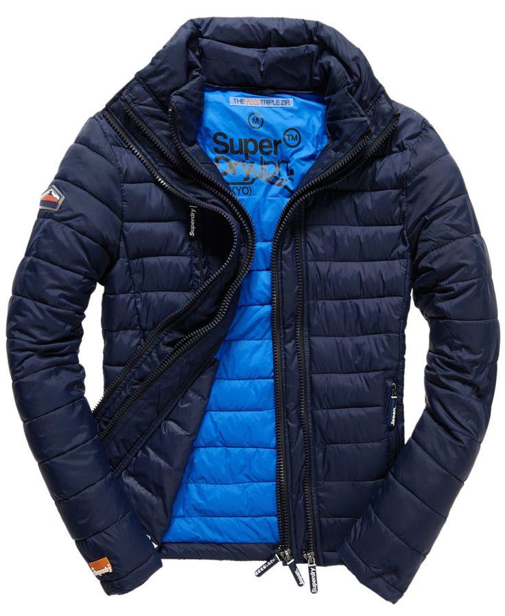 Mens - Fuji Triple Zip Jacket in Midnight Blue   Superdry