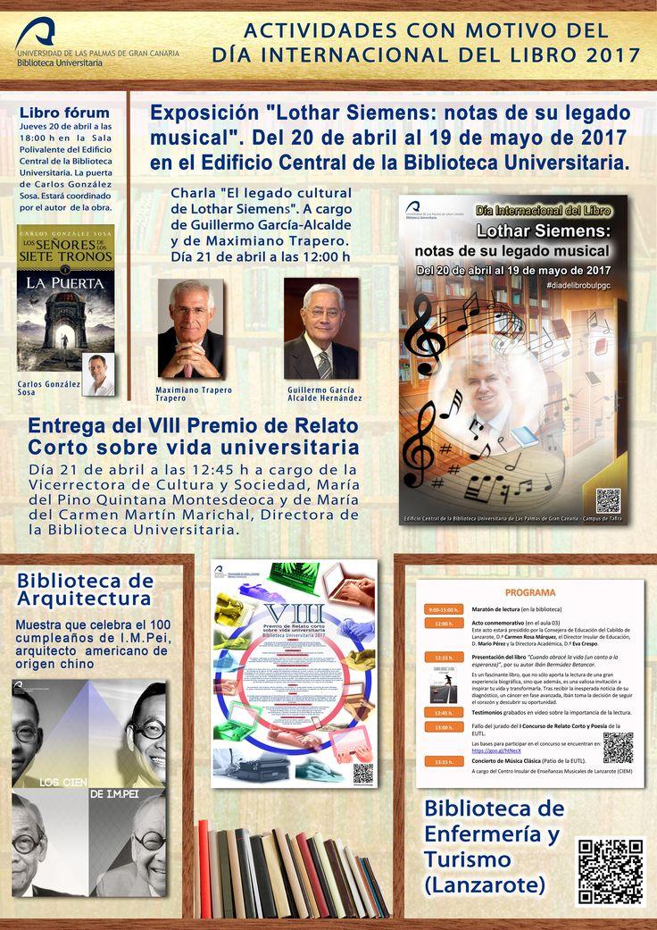 VIDEO PROMOCIONAL CON MOTIVO DE LA CELEBRACIÓN DEL DIA INTERNACIONAL DEL LIBRO 2017. Actividades que la Biblioteca Universitaria de la ULPGC desarrollará a partir del 19 de abril de 2017 con motivo de la celebración del Día Internacional del Libro.